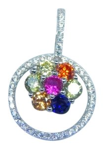 9.2.5 Sterling Silver. Gorgeous Oval shape Princess Cut Rainbow sapphire Pendant Multi Color in Cluster Setting
