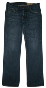 Hollister 5 Pocket Style Button Fly Low Rise 100% Cotton Slim Fit Straight Leg Jeans-Dark Rinse