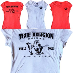 True Religion V-neck Soft Logo T Shirt RED