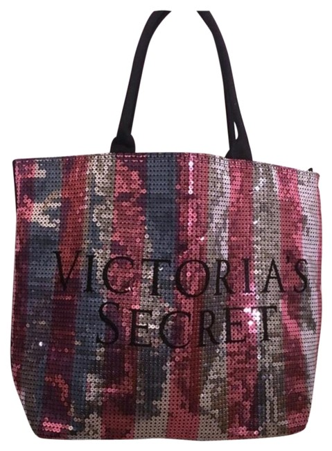 Item - Vs Bling Sequined Striped Pink Silver Black Beach Bag