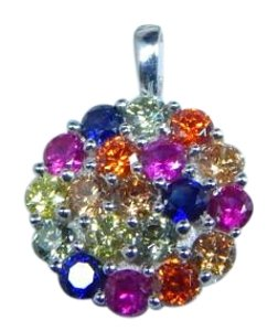 9.2.5 STERLING SILVER RAINBOW SAPPHIRE SMALL CLUSTER PENDANT 3mm ROUND