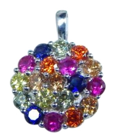 Preload https://img-static.tradesy.com/item/17834068/925-blue-pink-yellow-red-sterling-silver-rainbow-sapphire-small-cluster-pendant-3mm-round-necklace-0-1-540-540.jpg