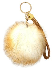 Beige Rhinestone Crystal Accent Rabbit Fur Bag/Purse Charm Pom Pom Key Chain