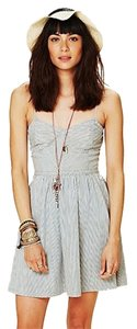 Free People short dress White and blue pin striped Summer Beach Date Night Date Brunch on Tradesy