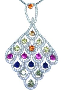 9.2.5 STERLING SILVER RAINBOW SAPPHIRE IN DIAMOND SHAPED CHANDELIER PENDANT 3mm ROUND