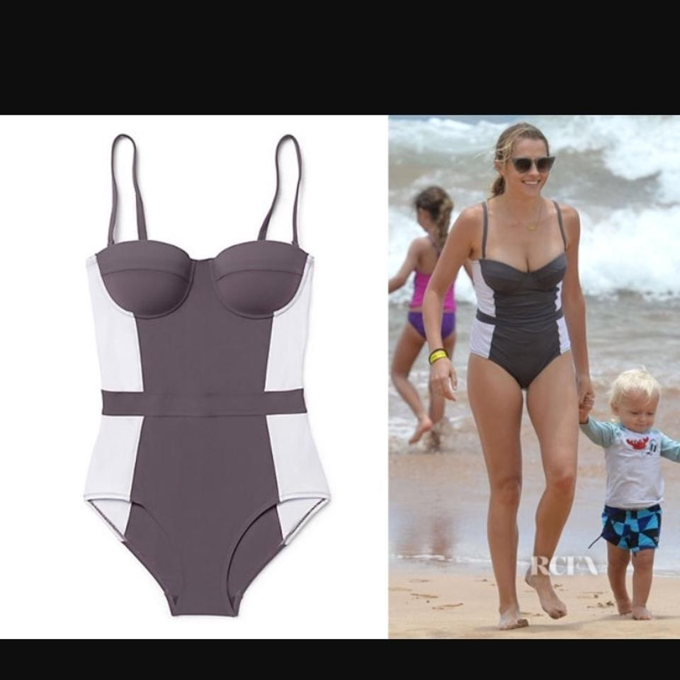 e804f4903ad8f Tory Burch Grey White Lipsi Colorblock One-piece Bathing Suit Size 4 ...