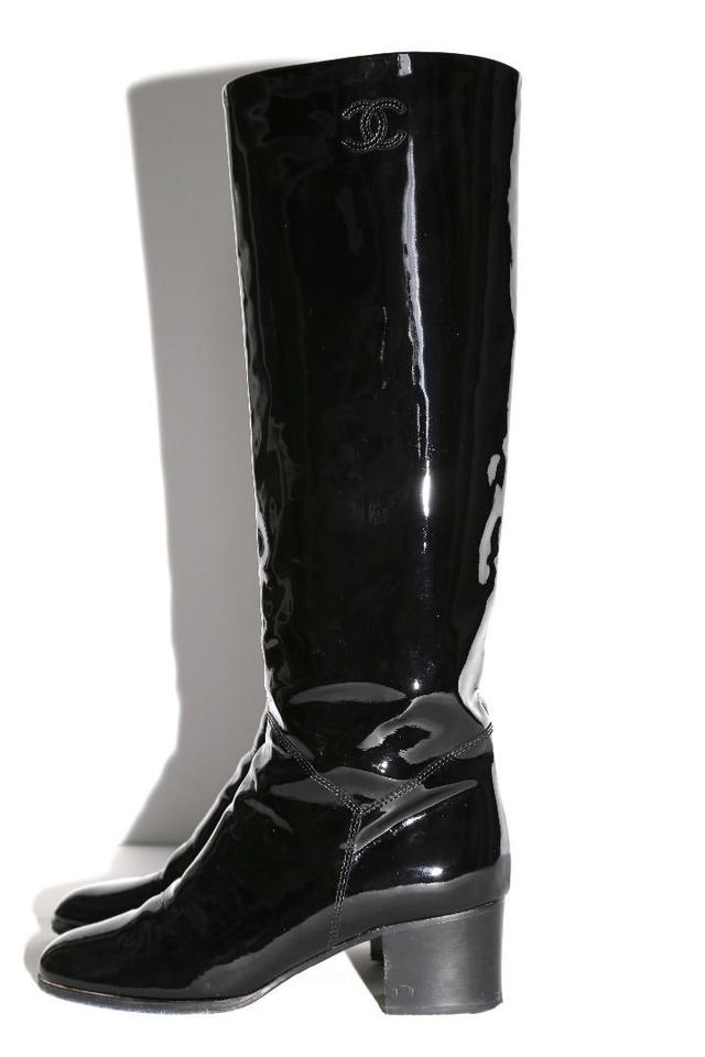 ec35e766168 Chanel Black Patent Leather Knee High Boots/Booties Size US 6.5 ...