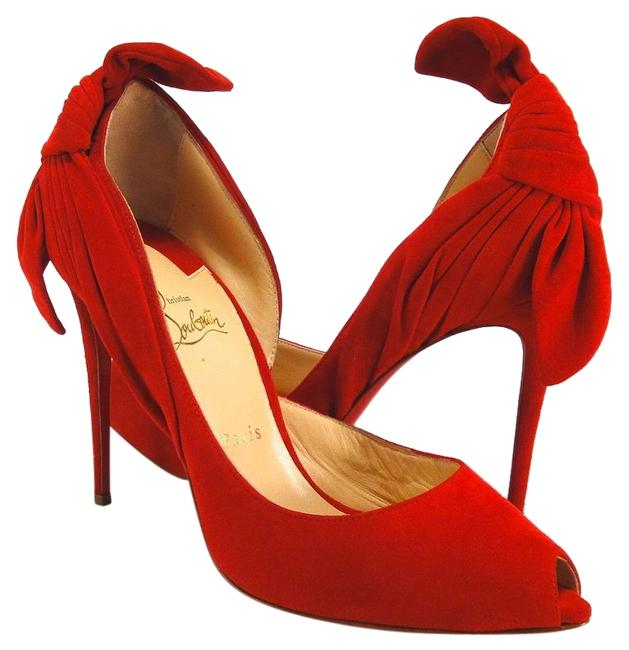 Item - Red Oeillet Barbara Iriza Suede 100 Bow 667 Pumps Size US 10.5 Regular (M, B)
