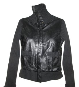 Context Black Leather/ Black Material Leather Jacket
