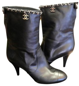 Chanel Boot Silver Hardware Black Boots