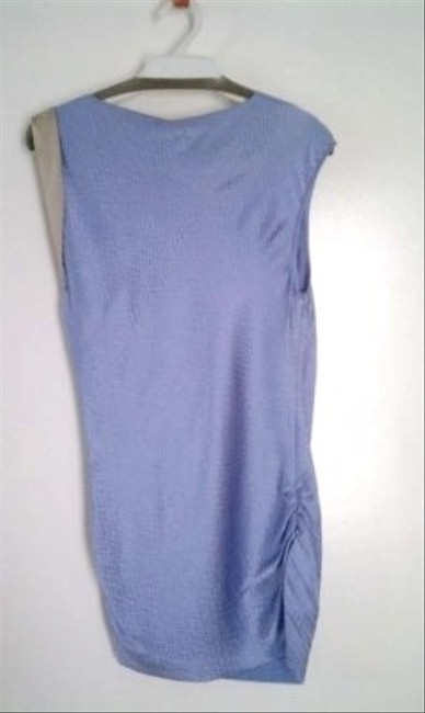 Other Silk Hammered Silk Sleeveless Crewneck Pleating Ruching Top Lavender