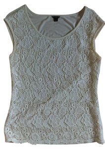 Ann Taylor Lace Sleeveless Top White