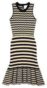 Kate Spade Nwt New New York Zig Zag Sweater & Stripe Date Work Party Xs Cream Spring Summer Chevron Zig Zag Fluted Fit Flare Dress