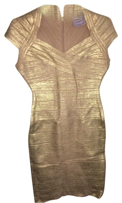 Item - Gold Bandage Above Knee Night Out Dress Size 2 (XS)
