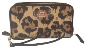 Coach COACH Leopard Print Leather Double Zip Phone Wallet / Wristlet