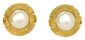 Chanel Chanel Gold and Pearl Vintage Clip On Earrings