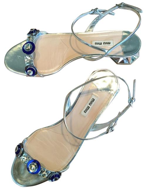 Item - Silver Crystal Blue Accents Sandals Size US 10.5 Regular (M, B)