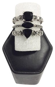 Judith Jack Judith Jack Sterling Silver Marcasite & Onyx Three Stack Rings Size 8