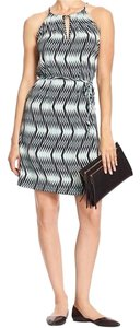 Banana Republic short dress Turquoise / Black / White Print Halter on Tradesy
