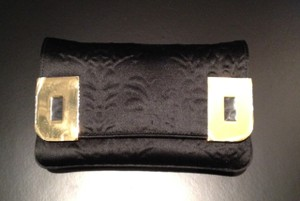 Christian Lacroix New Satin Embossed Evening Black Clutch