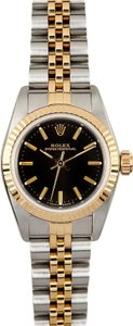 Rolex Rolex Ladies Two-Tone Oyster Perpetual Black Dial No Date Watch 67193