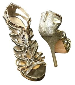 Jimmy Choo Glitter with Gold & leopard Leather Sandals