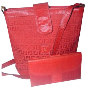 Fendi Bucket Style Purse & Wallet Satchel in Red FF logo print
