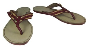 Burberry Nova Check Leather Red Sandals