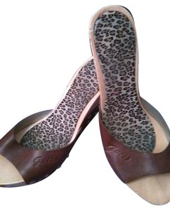 Guess Animal Print Silver Hardware Leather Brown Wedges