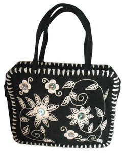 Lulu Guinness Wool Embroidered Mother Of Pearl Satchel in Black