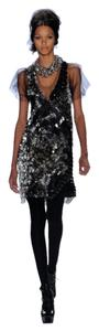 Vera Wang Sequence Beadings Shift V-neck Cocktail Dress