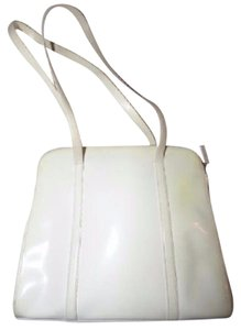 Prada Mint Vintage Xl Size Dressy Or Casual Chic And Sleek Retro 1960's Mod Satchel in Ivory Patent Leather