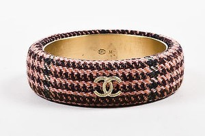 Chanel Chanel 13a Pink Brown Tweed Gold Tone Cc Bangle Bracelet