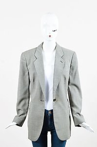 Giorgio Armani Classico Black White Wool Ls Houndstooth Patterned Blazer