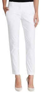 Theory White Testra Stretch Straight Pants Checklist White