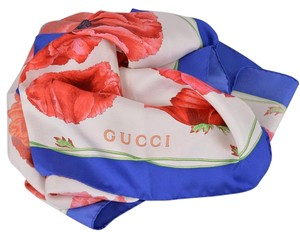 Gucci New Gucci Women's 303940 Red Blue Poppy Floral Silk Twill Neck Scarf