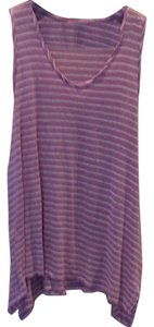 Calypso St. Barth Long Striped Top lavender & white
