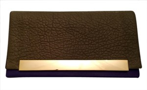Pour La Victoire Moss green and violet with gold hardware Clutch