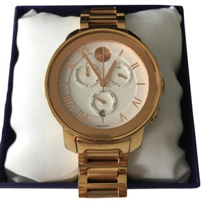 Movado Movado Rose Gold Chronograph Watch with White Face