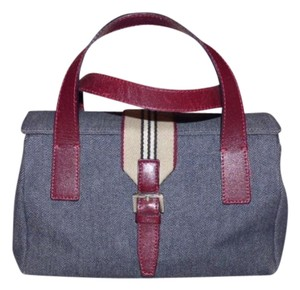 Burberry Mint Vintage High-end Bohemian Chrome Hardware Boxy & Structured Footed Bottom Satchel in Dark rinse denim/burgundy leather with a wide, tan/black/ivory/maroon striped accent