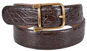 Gucci New Gucci Women's 257319 BROWN Caiman Alligator Logo Buckle Belt 38 95