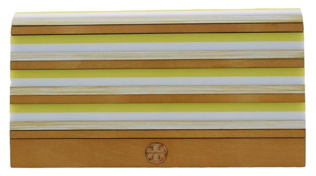 Item - Rayna Striped Resin Multi Colored Yellow/White/Ivory/Beige Clutch