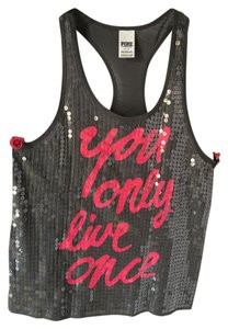 Victoria's Secret Pink Bling You Only Live Once Yolo Top Gray
