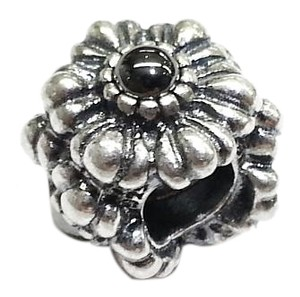PANDORA Sterling Silver Flower Charm With Black Stones