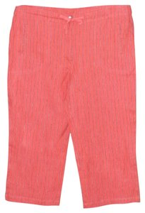 Chico's Striped Linen Capris Salmon