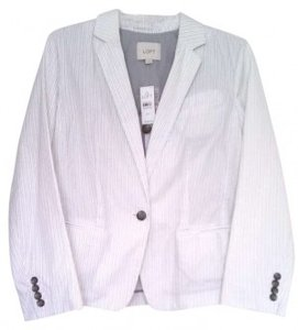 Ann Taylor LOFT Pinstripe Single-button Closure Cotton Ruffle Ruching White Blazer