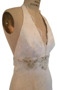 Augusta Jones Light Ivory White Silver Lace Low Back All Beaded Vnk Halter Germaine Sexy Wedding Dress Size 8 (M)