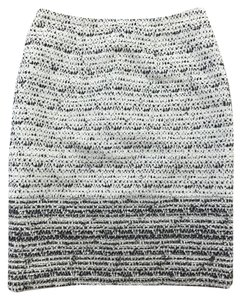 Carolina Herrera Fringe Striped Pencil Skirt Black, White