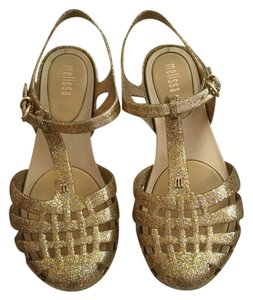 Melissa Jelly Flat Clear Glitter Gold Sandals