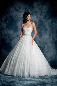 Alfred Angelo White/Silver Lace 893 Formal Wedding Dress Size 12 (L)